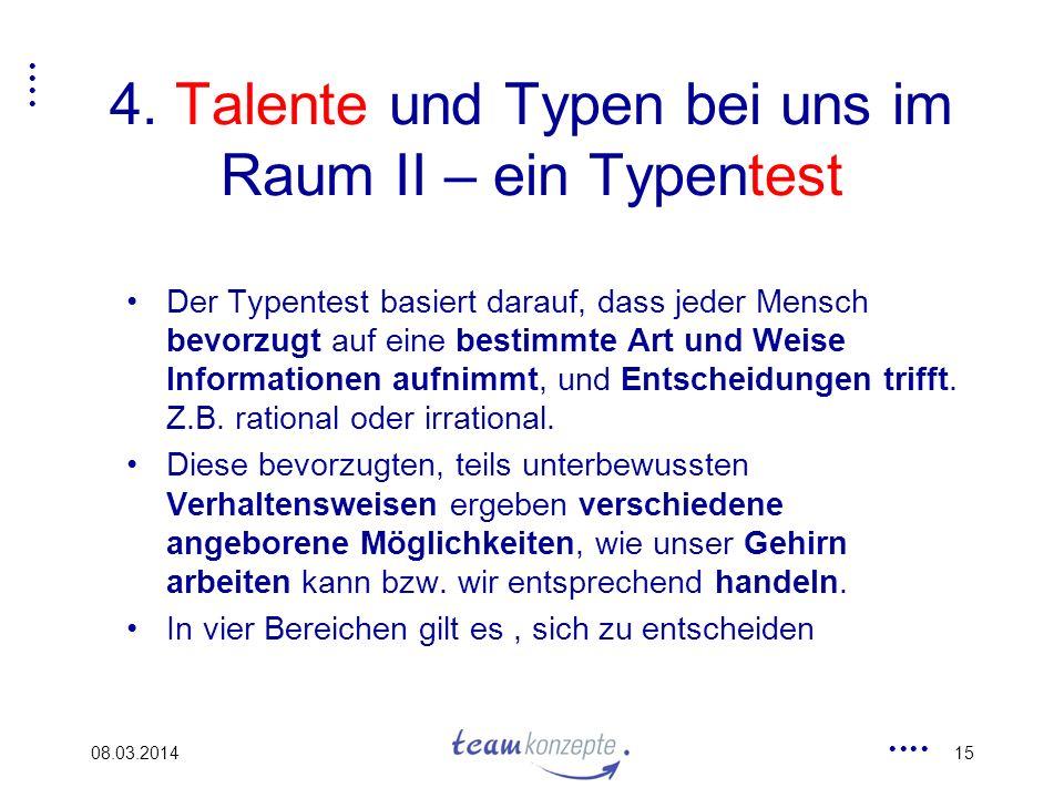 08.03.201415 4. Talente und Typen bei uns im Raum II – ein Typentest Der Typentest basiert darauf, dass jeder Mensch bevorzugt auf eine bestimmte Art