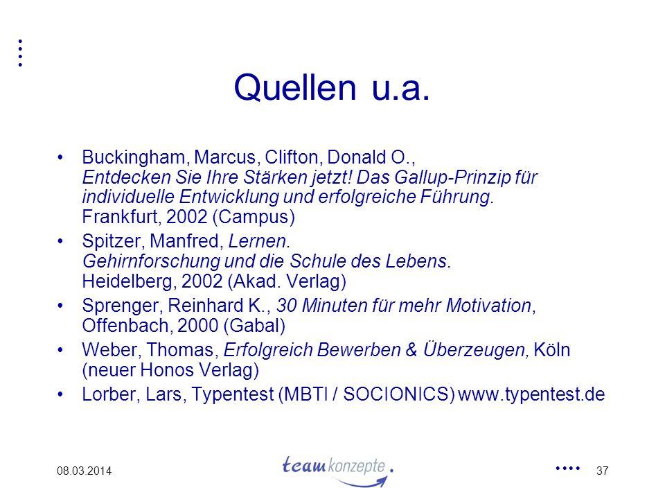 08.03.201437 Quellen u.a. Buckingham, Marcus, Clifton, Donald O., Entdecken Sie Ihre Stärken jetzt! Das Gallup-Prinzip für individuelle Entwicklung un