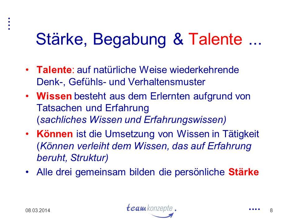 08.03.20148 Stärke, Begabung & Talente... Talente: auf natürliche Weise wiederkehrende Denk-, Gefühls- und Verhaltensmuster Wissen besteht aus dem Erl