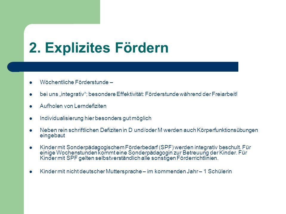 2. Explizites Fördern Wöchentliche Förderstunde – bei uns integrativ; besondere Effektivität: Förderstunde während der Freiarbeit! Aufholen von Lernde