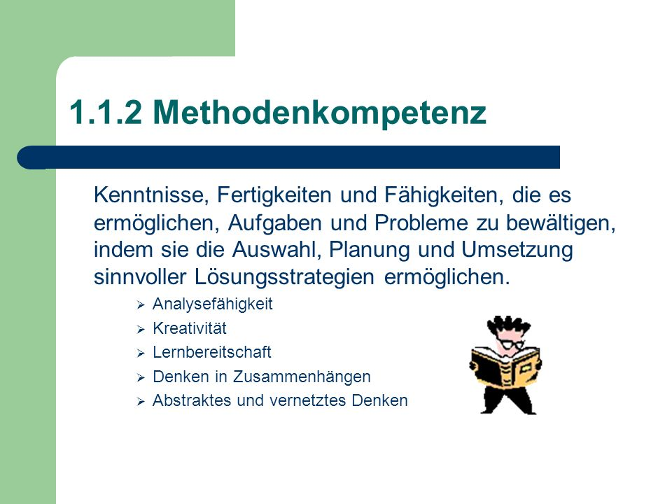 1.1.2 Methodenkompetenz Kenntnisse, Fertigkeiten und Fähigkeiten, die es ermöglichen, Aufgaben und Probleme zu bewältigen, indem sie die Auswahl, Plan