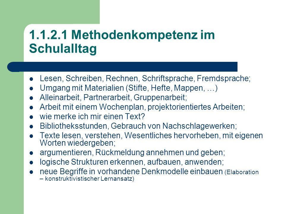 1.1.2.1 Methodenkompetenz im Schulalltag Lesen, Schreiben, Rechnen, Schriftsprache, Fremdsprache; Umgang mit Materialien (Stifte, Hefte, Mappen, …) Al