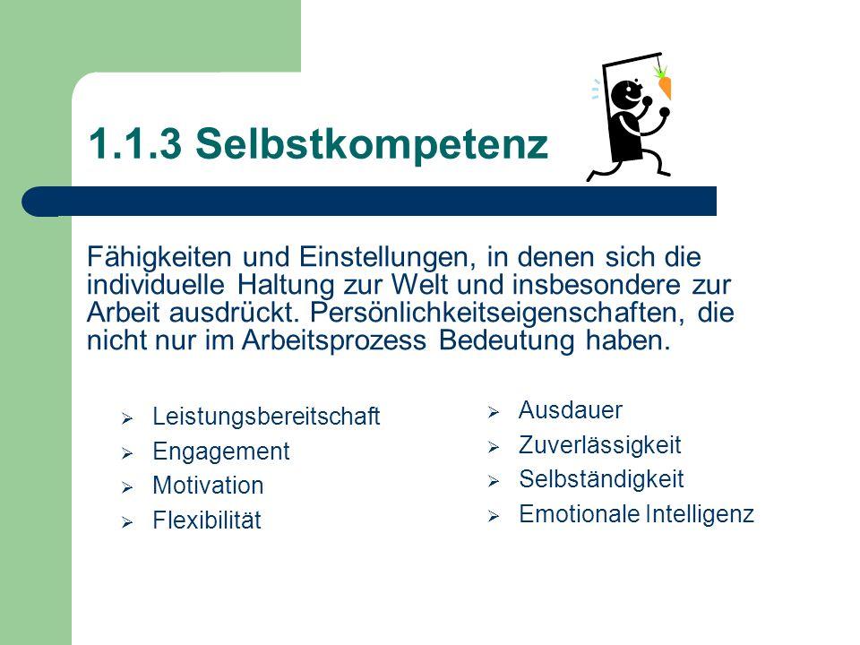 1.1.3 Selbstkompetenz Leistungsbereitschaft Engagement Motivation Flexibilität Ausdauer Zuverlässigkeit Selbständigkeit Emotionale Intelligenz Fähigke
