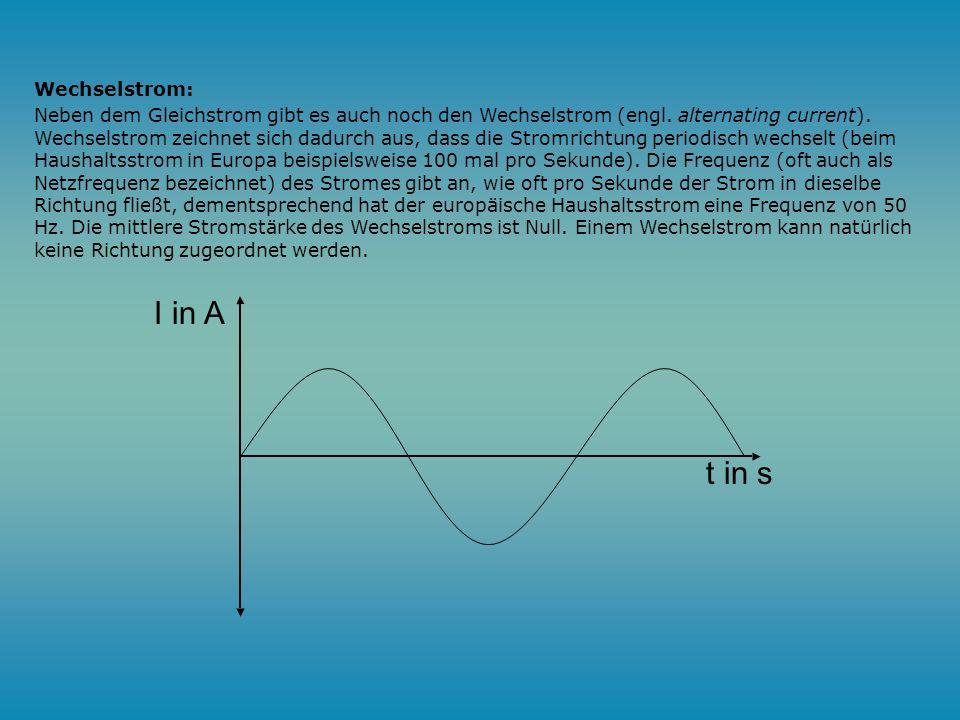 Gleichstrom: Im einfachsten Fall fließt ein zeitlich konstanter Strom. Einen solchen Strom nennt man Gleichstrom (engl. direct current). Beim Gleichst