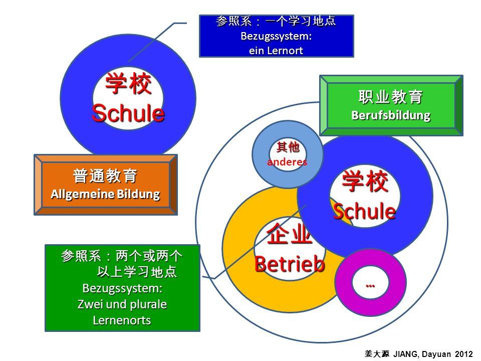 Schule Betrieb Schule anderes … Bezugssystem: ein Lernort Bezugssystem: Zwei und plurale Lernenorts Allgemeine Bildung Berufsbildung JIANG, Dayuan 2012