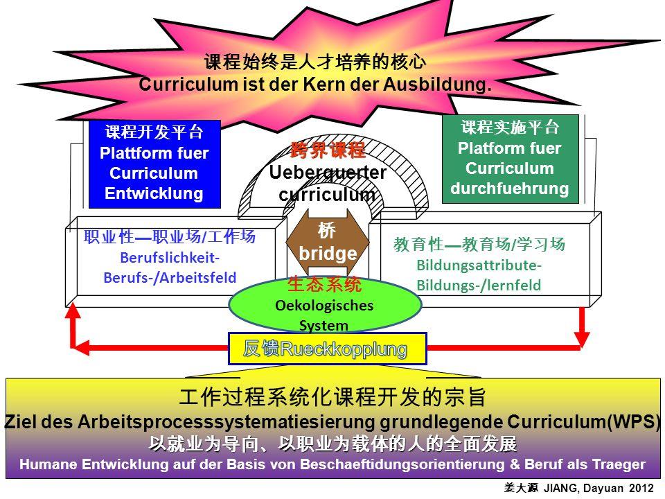 Curriculum ist der Kern der Ausbildung. / Berufslichkeit- Berufs-/Arbeitsfeld / Bildungsattribute- Bildungs-/lernfeld Ueberquerter curriculum bridge P