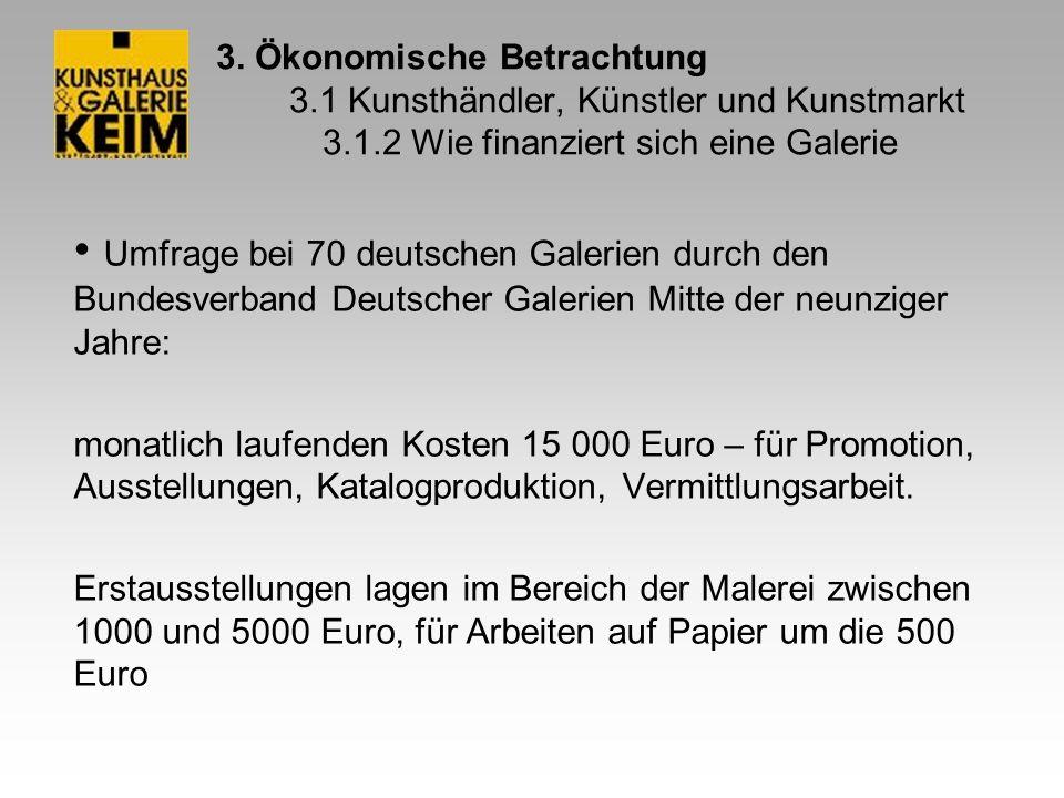 3. Ökonomische Betrachtung 3.1 Kunsthändler, Künstler und Kunstmarkt 3.1.2 Wie finanziert sich eine Galerie Umfrage bei 70 deutschen Galerien durch de