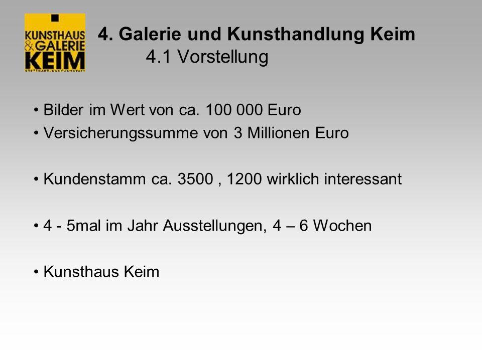 4. Galerie und Kunsthandlung Keim 4.1 Vorstellung Bilder im Wert von ca. 100 000 Euro Versicherungssumme von 3 Millionen Euro Kundenstamm ca. 3500, 12
