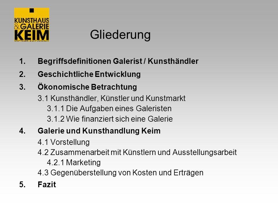 Gliederung 1.Begriffsdefinitionen Galerist / Kunsthändler 2.Geschichtliche Entwicklung 3.Ökonomische Betrachtung 3.1 Kunsthändler, Künstler und Kunstm