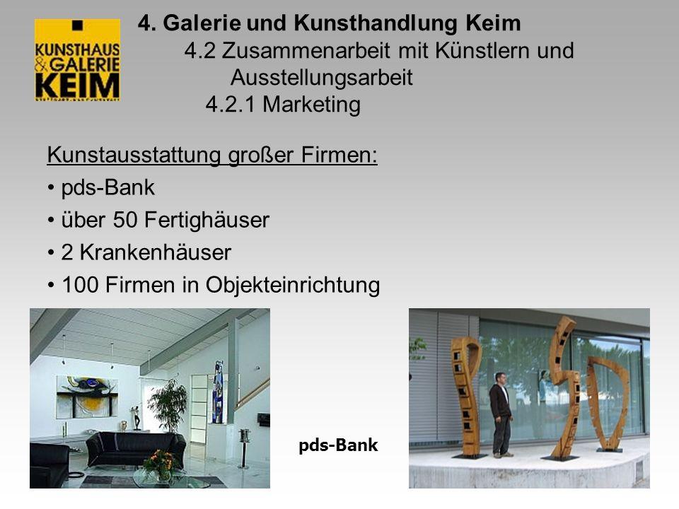 4. Galerie und Kunsthandlung Keim 4.2 Zusammenarbeit mit Künstlern und Ausstellungsarbeit 4.2.1 Marketing Kunstausstattung großer Firmen: pds-Bank übe