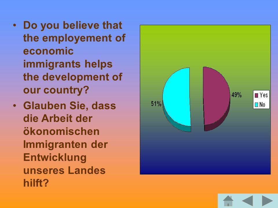 Do you believe that the employement of economic immigrants helps the development of our country? Glauben Sie, dass die Arbeit der ökonomischen Immigra