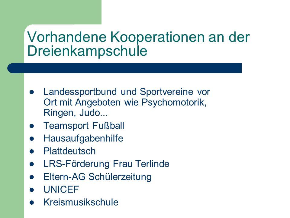 Vorhandene Kooperationen an der Dreienkampschule Landessportbund und Sportvereine vor Ort mit Angeboten wie Psychomotorik, Ringen, Judo...
