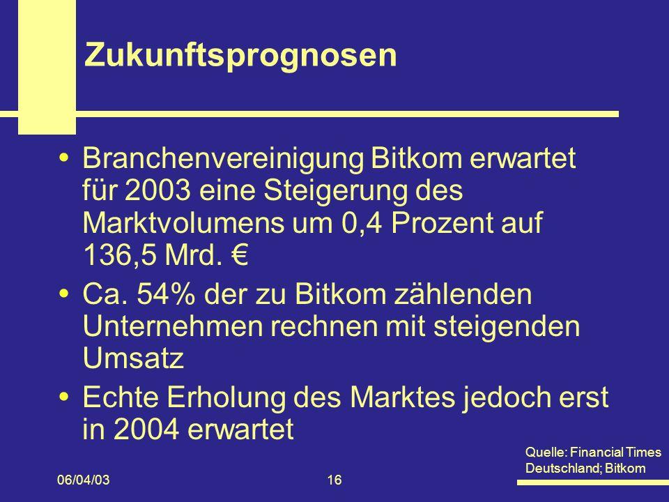 06/04/0316 Zukunftsprognosen Branchenvereinigung Bitkom erwartet für 2003 eine Steigerung des Marktvolumens um 0,4 Prozent auf 136,5 Mrd.