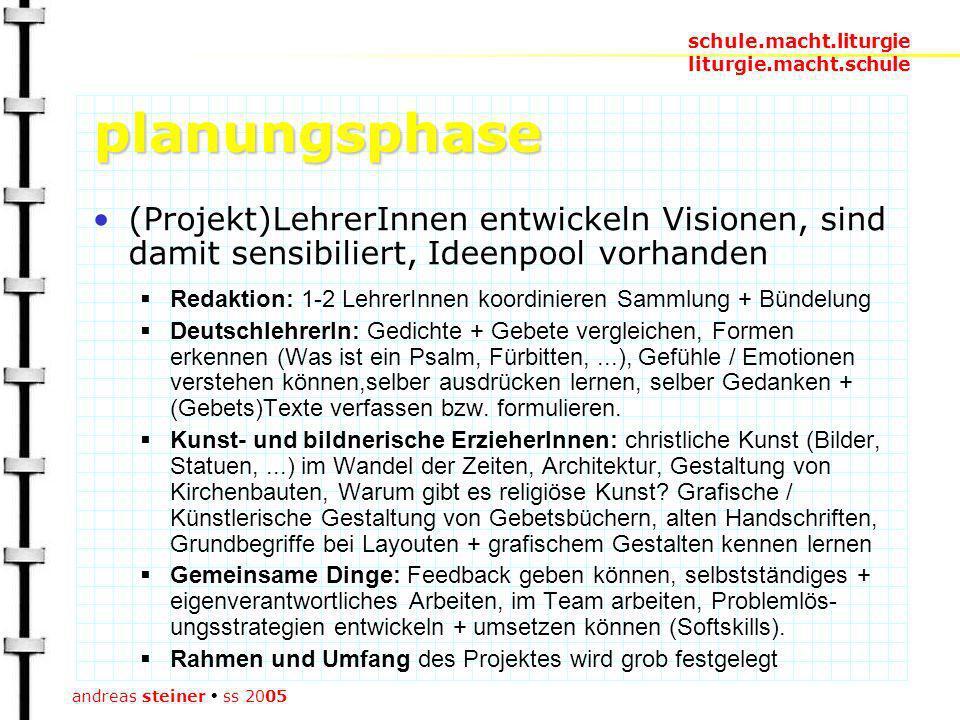 schule.macht.liturgie liturgie.macht.schule andreas steiner ss 2005 planungsphase im Rahmen des regulären Unterrichts (keine Mehrarbeit bzw.