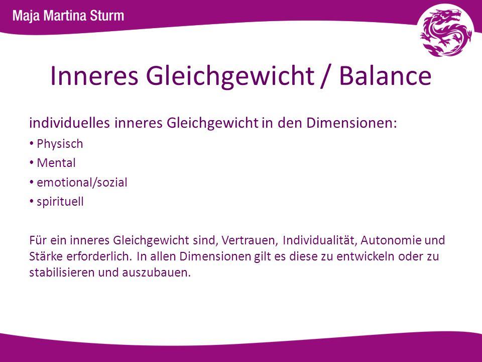 Inneres Gleichgewicht / Balance individuelles inneres Gleichgewicht in den Dimensionen: Physisch Mental emotional/sozial spirituell Für ein inneres Gl