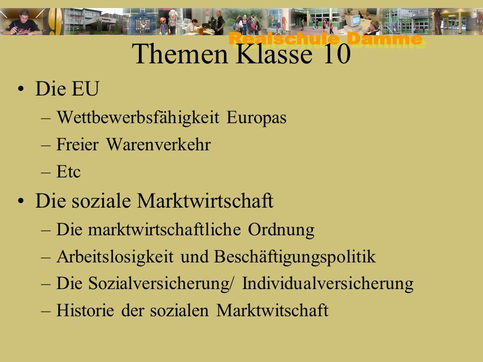 Themen Klasse 10 Die EU –Wettbewerbsfähigkeit Europas –Freier Warenverkehr –Etc Die soziale Marktwirtschaft –Die marktwirtschaftliche Ordnung –Arbeits