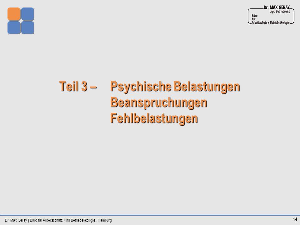 Dr. Max Geray | Büro für Arbeitsschutz und Betriebsökologie, Hamburg 14 Teil 3 – Psychische Belastungen Beanspruchungen Fehlbelastungen Teil 3 – Psych