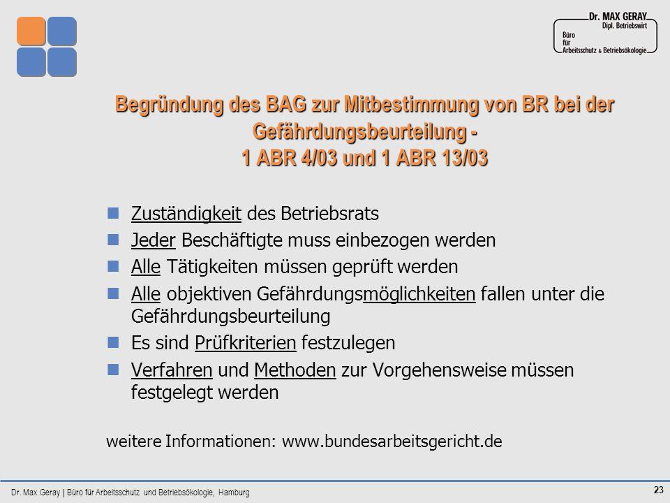 Dr. Max Geray | Büro für Arbeitsschutz und Betriebsökologie, Hamburg 23 Begründung des BAG zur Mitbestimmung von BR bei der Gefährdungsbeurteilung - 1