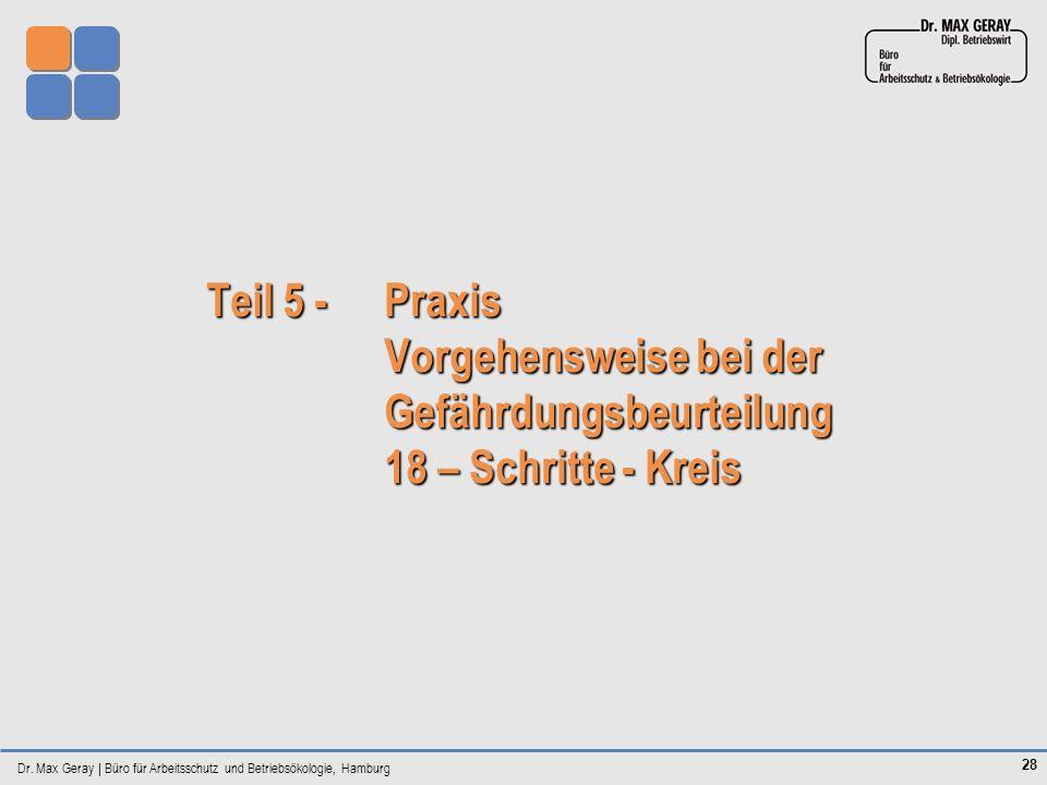 Dr. Max Geray | Büro für Arbeitsschutz und Betriebsökologie, Hamburg 28 Teil 5 - Praxis Vorgehensweise bei der Gefährdungsbeurteilung 18 – Schritte -