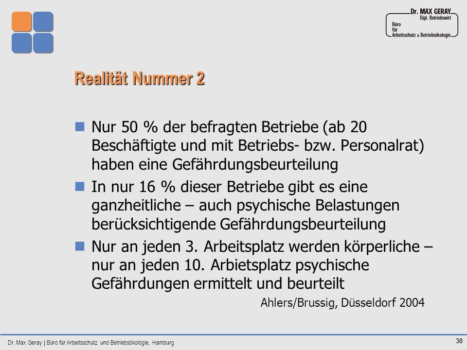 Dr. Max Geray | Büro für Arbeitsschutz und Betriebsökologie, Hamburg 30 Realität Nummer 2 Nur 50 % der befragten Betriebe (ab 20 Beschäftigte und mit