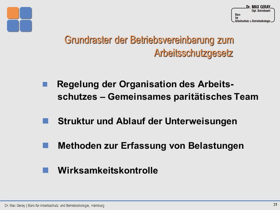 Dr. Max Geray | Büro für Arbeitsschutz und Betriebsökologie, Hamburg 31 Grundraster der Betriebsvereinbarung zum Arbeitsschutzgesetz Grundraster der B