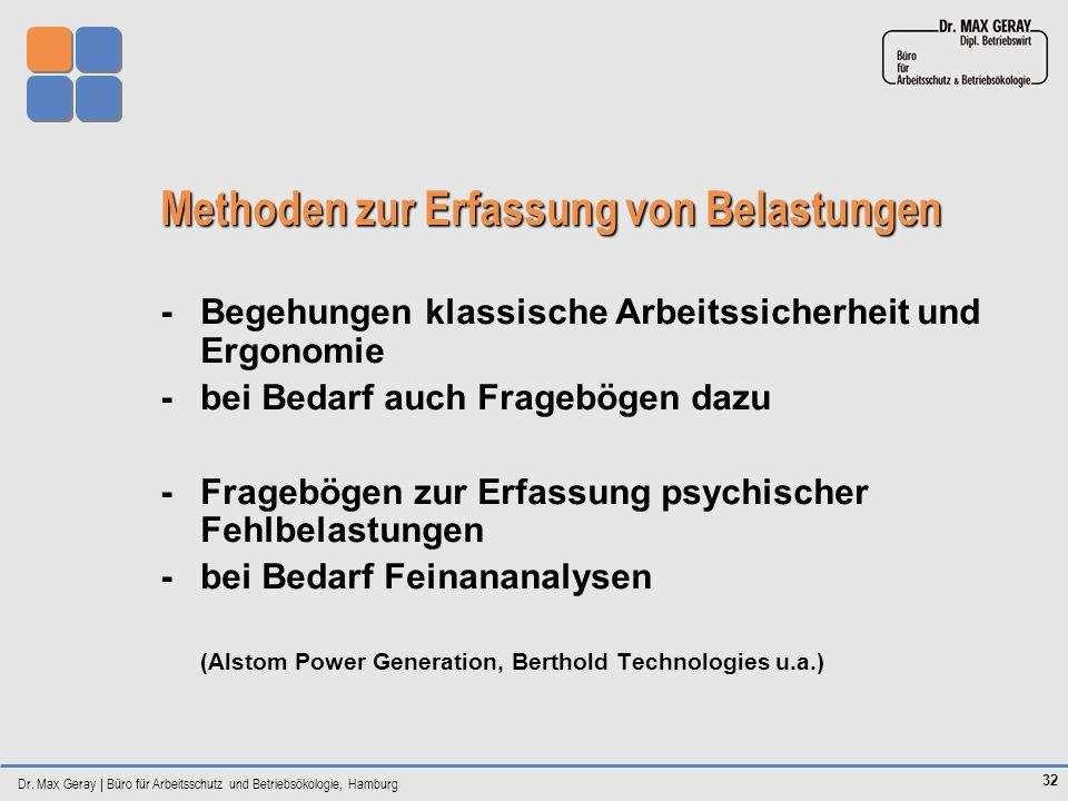 Dr. Max Geray | Büro für Arbeitsschutz und Betriebsökologie, Hamburg 32 Methoden zur Erfassung von Belastungen -Begehungen klassische Arbeitssicherhei