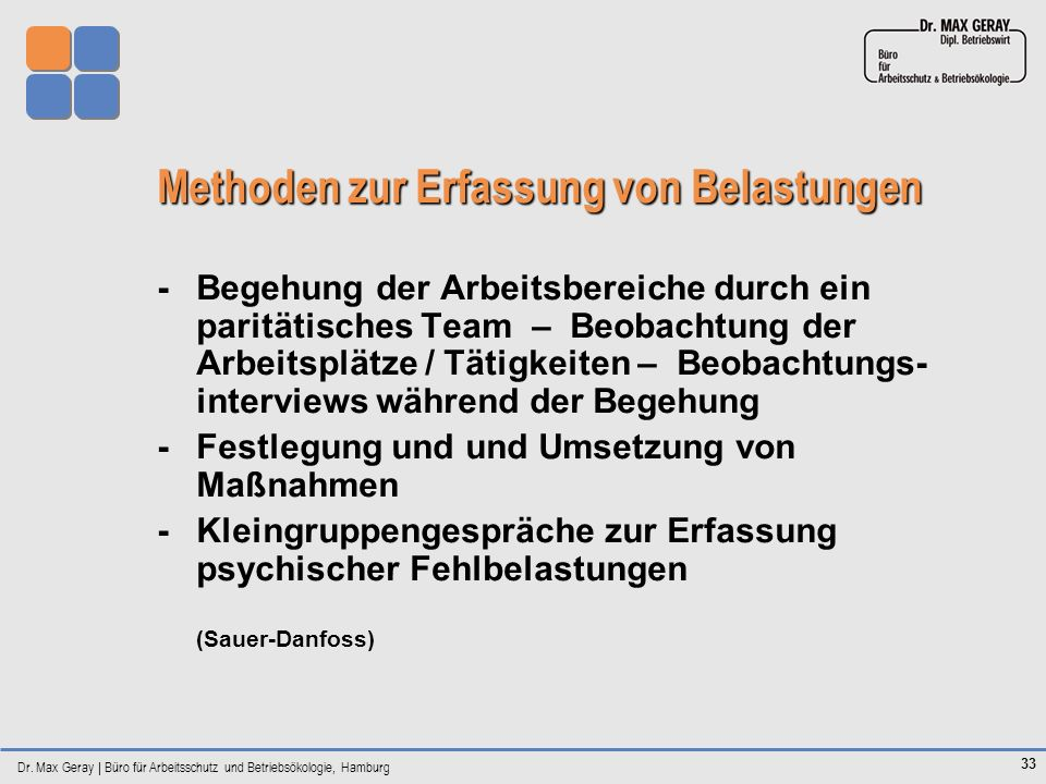 Dr. Max Geray | Büro für Arbeitsschutz und Betriebsökologie, Hamburg 33 Methoden zur Erfassung von Belastungen -Begehung der Arbeitsbereiche durch ein