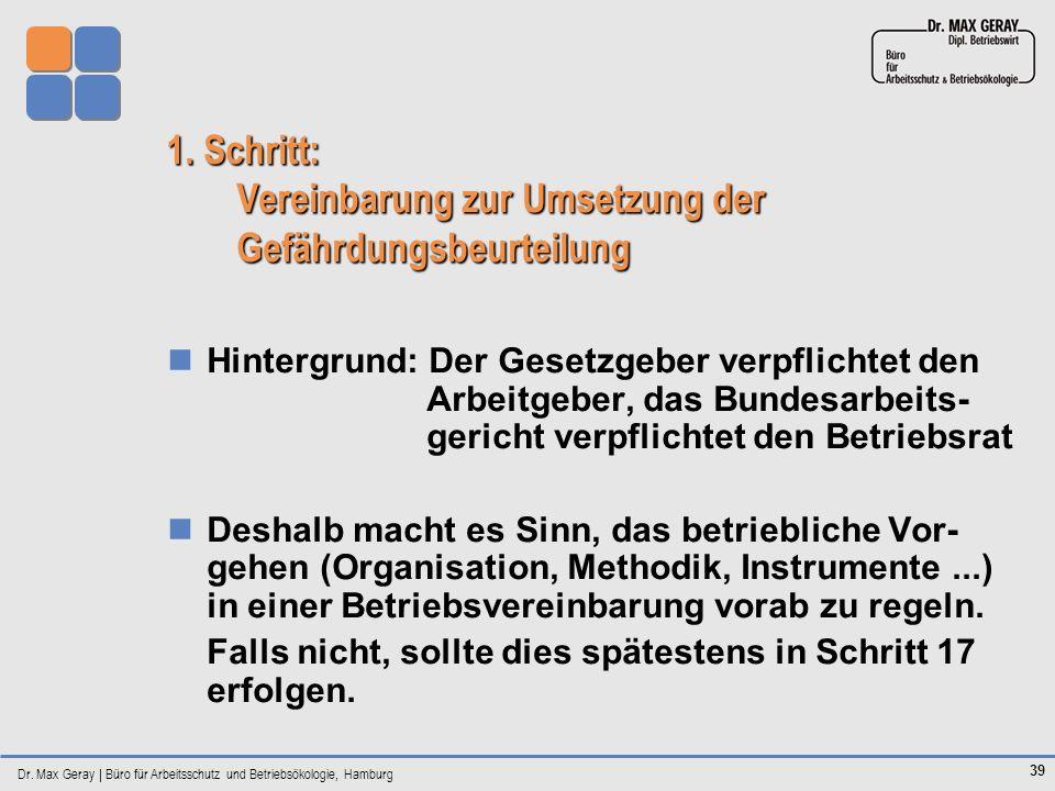 Dr. Max Geray | Büro für Arbeitsschutz und Betriebsökologie, Hamburg 39 1. Schritt: Vereinbarung zur Umsetzung der Gefährdungsbeurteilung Hintergrund: