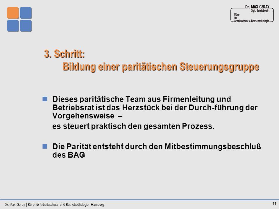 Dr. Max Geray | Büro für Arbeitsschutz und Betriebsökologie, Hamburg 41 3. Schritt: Bildung einer paritätischen Steuerungsgruppe Dieses paritätische T