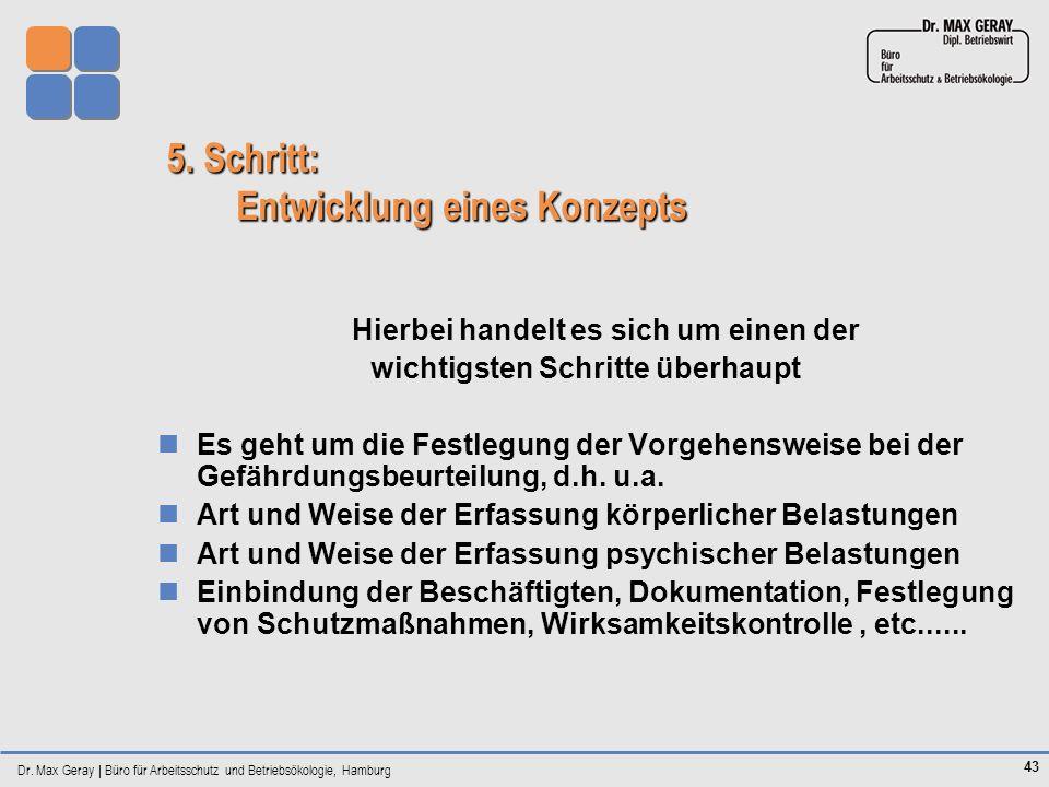 Dr. Max Geray | Büro für Arbeitsschutz und Betriebsökologie, Hamburg 43 5. Schritt: Entwicklung eines Konzepts Hierbei handelt es sich um einen der wi