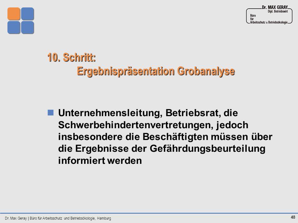 Dr. Max Geray | Büro für Arbeitsschutz und Betriebsökologie, Hamburg 48 10. Schritt: Ergebnispräsentation Grobanalyse Unternehmensleitung, Betriebsrat