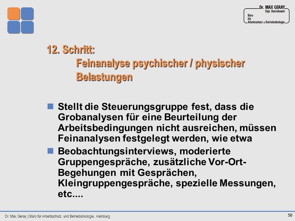 Dr. Max Geray | Büro für Arbeitsschutz und Betriebsökologie, Hamburg 50 12. Schritt: Feinanalyse psychischer / physischer Belastungen Stellt die Steue