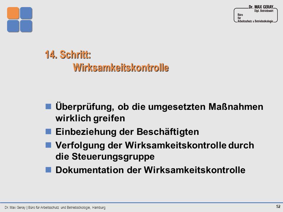 Dr. Max Geray | Büro für Arbeitsschutz und Betriebsökologie, Hamburg 52 14. Schritt: Wirksamkeitskontrolle Überprüfung, ob die umgesetzten Maßnahmen w