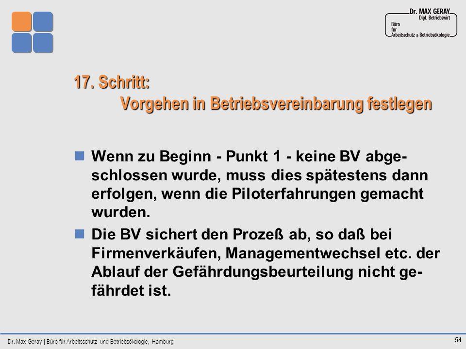 Dr. Max Geray | Büro für Arbeitsschutz und Betriebsökologie, Hamburg 54 17. Schritt: Vorgehen in Betriebsvereinbarung festlegen Wenn zu Beginn - Punkt