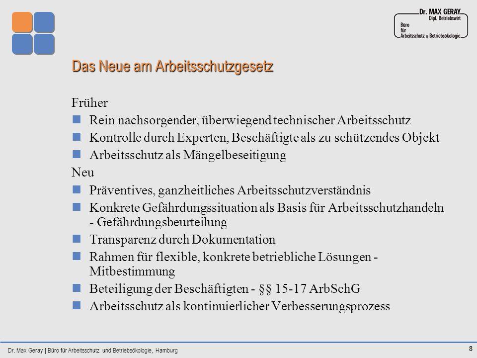 Dr. Max Geray | Büro für Arbeitsschutz und Betriebsökologie, Hamburg 8 Das Neue am Arbeitsschutzgesetz Früher Rein nachsorgender, überwiegend technisc