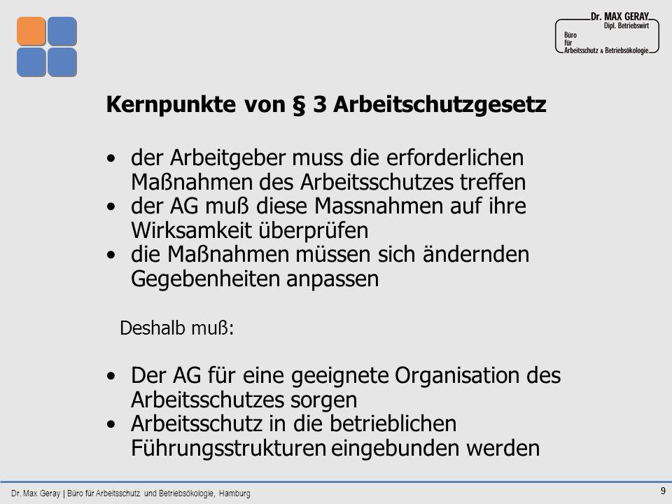 Dr. Max Geray | Büro für Arbeitsschutz und Betriebsökologie, Hamburg 9 Kernpunkte von § 3 Arbeitschutzgesetz der Arbeitgeber muss die erforderlichen M