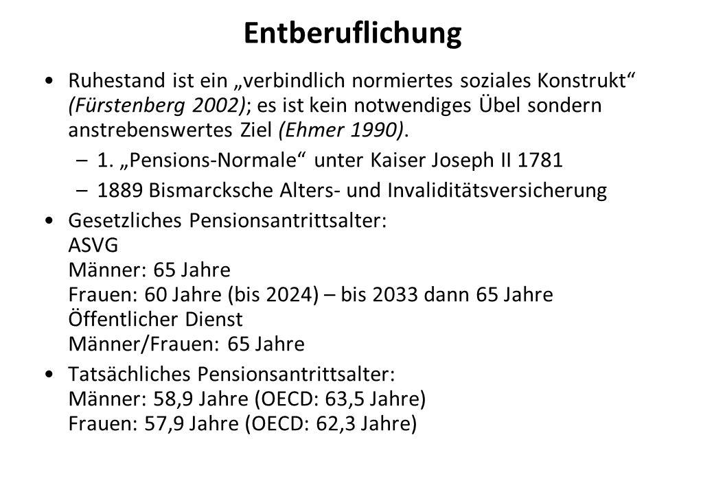 Entberuflichung Ruhestand ist ein verbindlich normiertes soziales Konstrukt (Fürstenberg 2002); es ist kein notwendiges Übel sondern anstrebenswertes