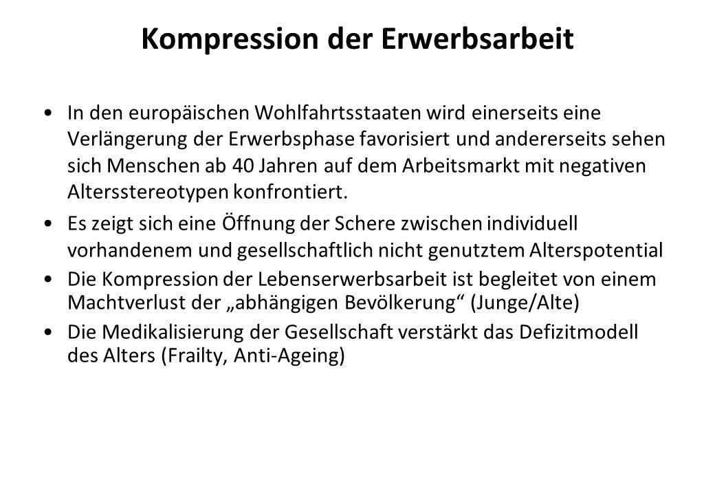 Kompression der Erwerbsarbeit In den europäischen Wohlfahrtsstaaten wird einerseits eine Verlängerung der Erwerbsphase favorisiert und andererseits se