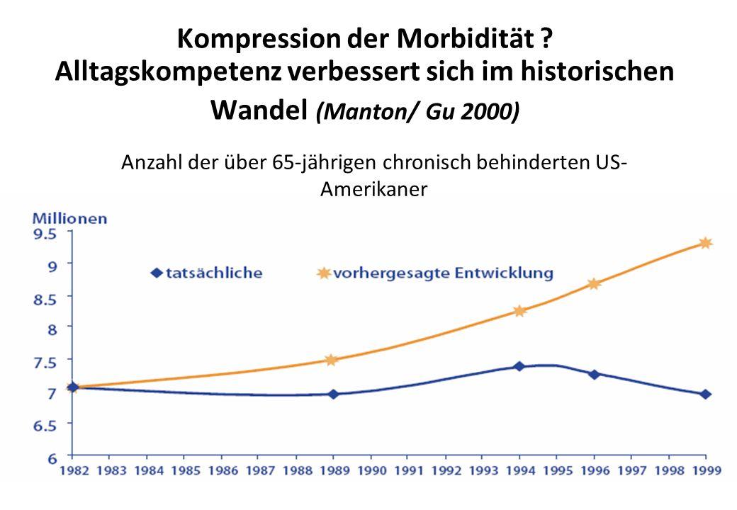 Kompression der Morbidität ? Alltagskompetenz verbessert sich im historischen Wandel (Manton/ Gu 2000) Anzahl der über 65-jährigen chronisch behindert