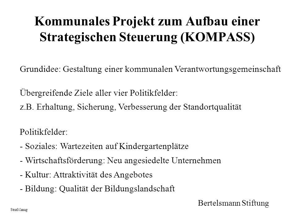 Kommunales Projekt zum Aufbau einer Strategischen Steuerung (KOMPASS) Grundidee: Gestaltung einer kommunalen Verantwortungsgemeinschaft Übergreifende