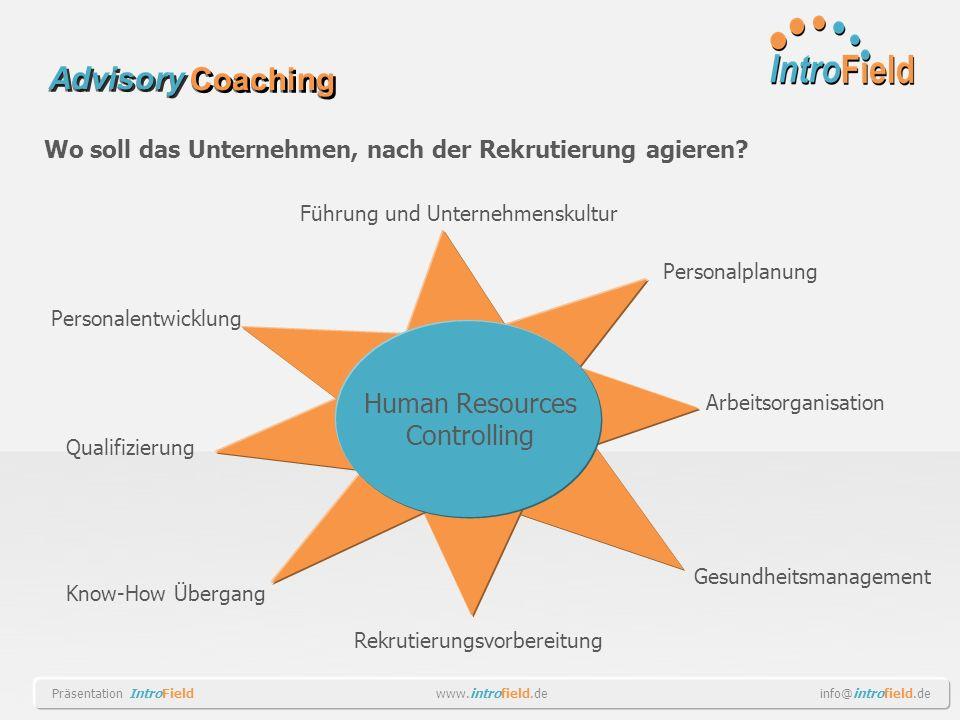 Wo soll das Unternehmen, nach der Rekrutierung agieren? Human Resources Controlling Führung und Unternehmenskultur Personalentwicklung Personalplanung