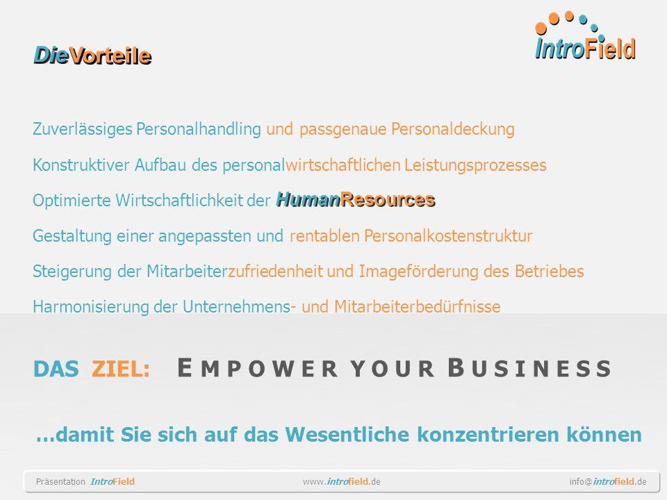Zuverlässiges Personalhandling und passgenaue Personaldeckung Konstruktiver Aufbau des personalwirtschaftlichen Leistungsprozesses Optimierte Wirtscha