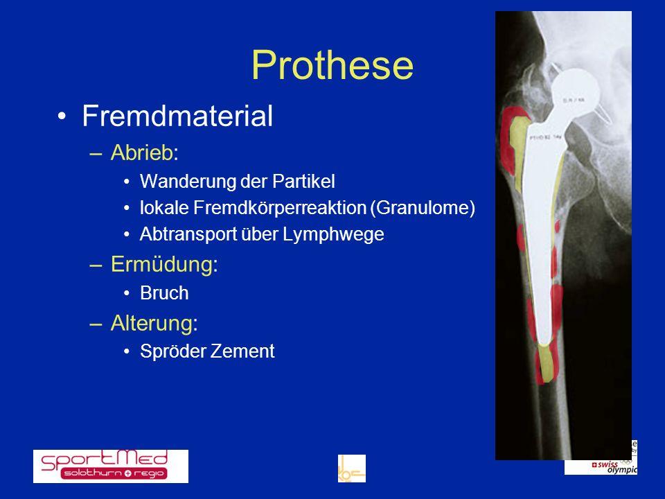 Prothese Fremdmaterial –Abrieb: Wanderung der Partikel lokale Fremdkörperreaktion (Granulome) Abtransport über Lymphwege –Ermüdung: Bruch –Alterung: S