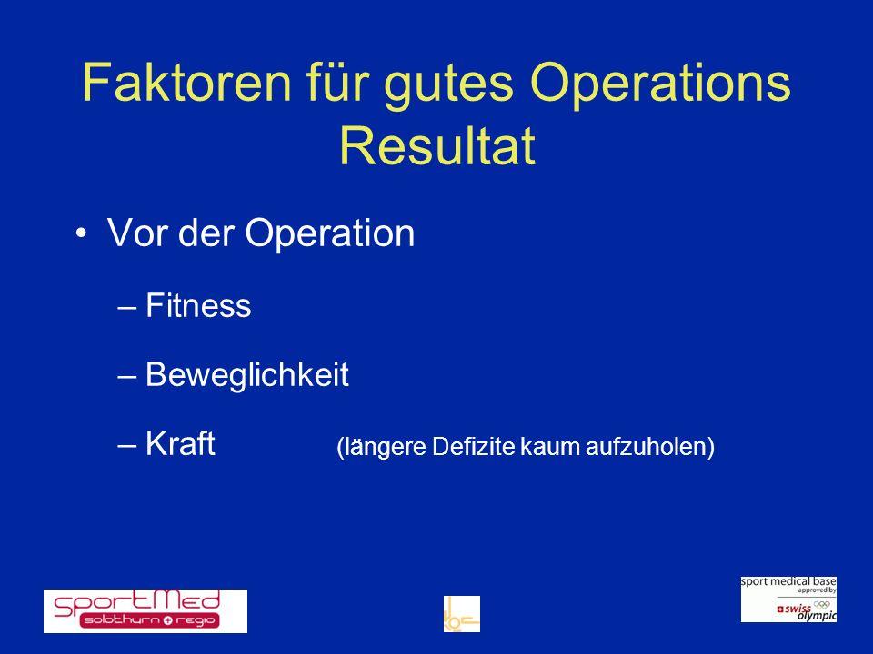 Faktoren für gutes Operations Resultat Vor der Operation –Fitness –Beweglichkeit –Kraft (längere Defizite kaum aufzuholen)