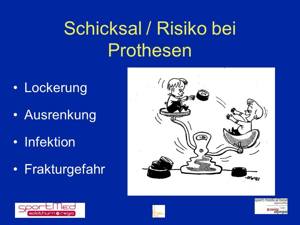 Schicksal / Risiko bei Prothesen Lockerung Ausrenkung Infektion Frakturgefahr