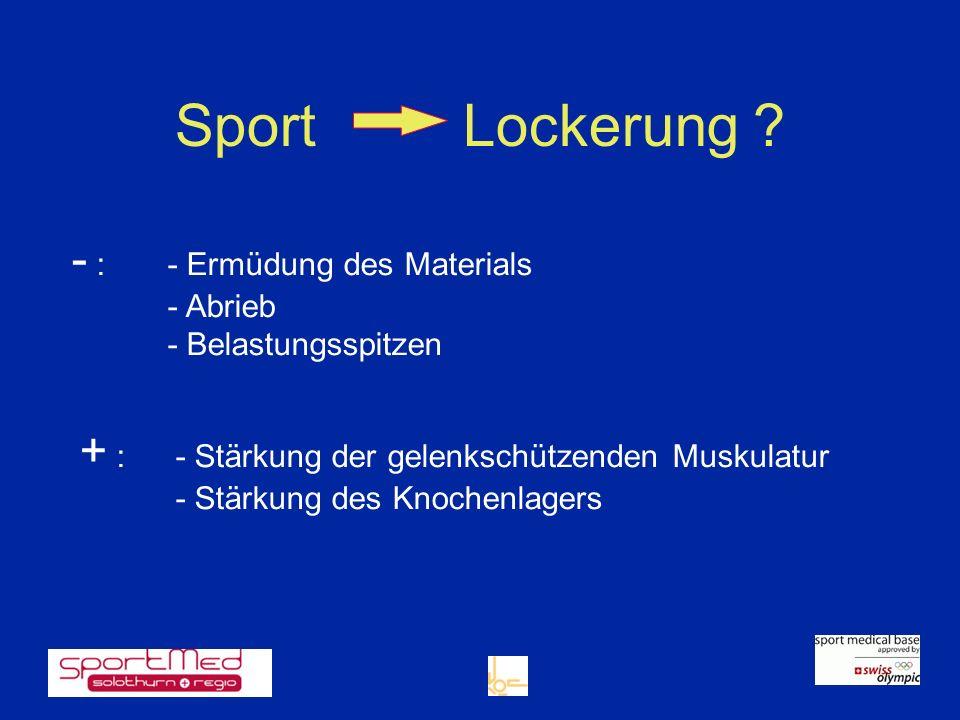 SportLockerung ? - :- Ermüdung des Materials - Abrieb - Belastungsspitzen + :- Stärkung der gelenkschützenden Muskulatur - Stärkung des Knochenlagers