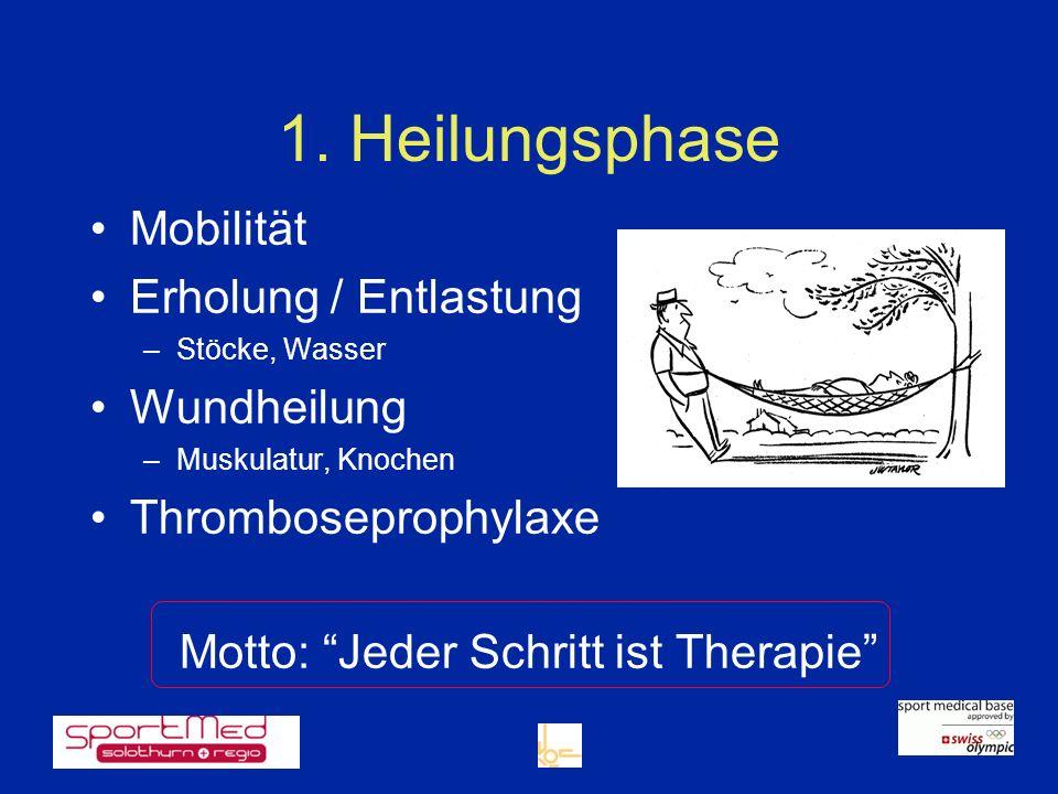 1. Heilungsphase Mobilität Erholung / Entlastung –Stöcke, Wasser Wundheilung –Muskulatur, Knochen Thromboseprophylaxe Motto: Jeder Schritt ist Therapi
