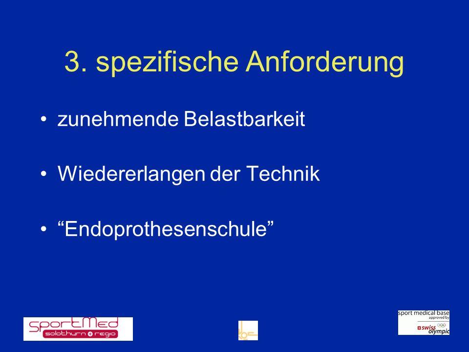3. spezifische Anforderung zunehmende Belastbarkeit Wiedererlangen der Technik Endoprothesenschule
