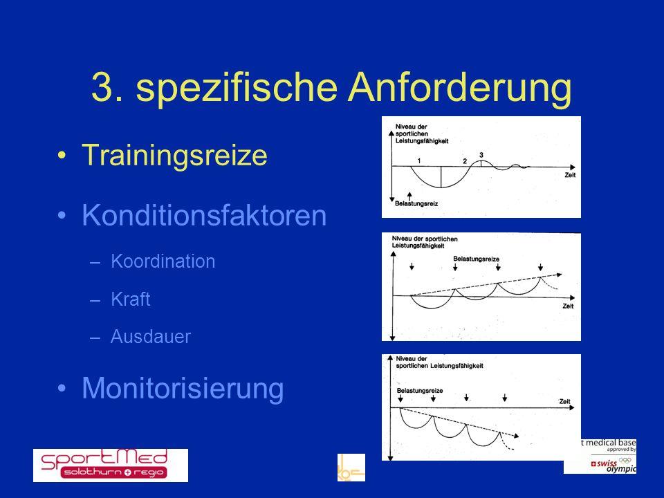 3. spezifische Anforderung Trainingsreize Konditionsfaktoren –Koordination –Kraft –Ausdauer Monitorisierung