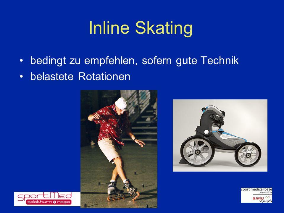 Inline Skating bedingt zu empfehlen, sofern gute Technik belastete Rotationen